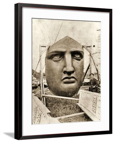 The Construction of the Statue of Liberty, Detail of the Face, C.1876--Framed Art Print