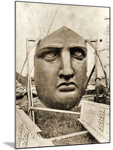 The Construction of the Statue of Liberty, Detail of the Face, C.1876--Mounted Photographic Print