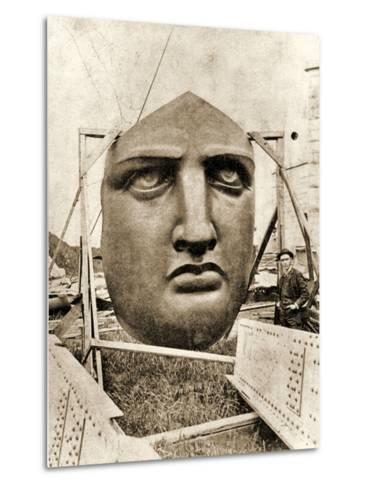 The Construction of the Statue of Liberty, Detail of the Face, C.1876--Metal Print