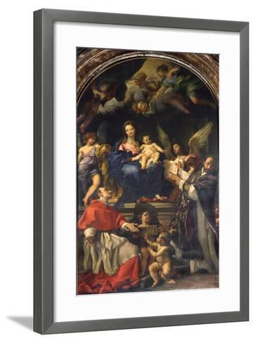 The Virgin Enthroned Between Saints Carlo Borromeo and Ignatius of Loyola, C.1685-Carlo Maratti-Framed Art Print