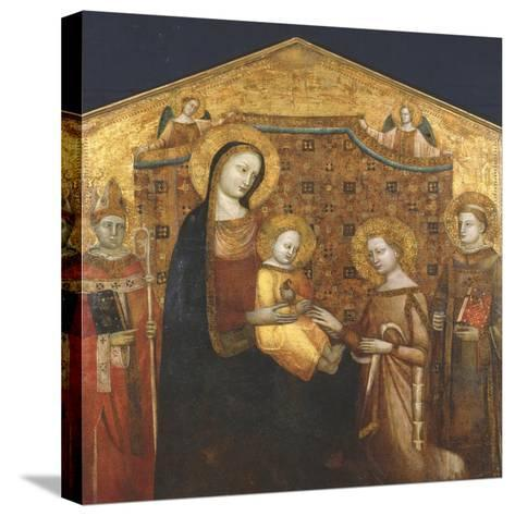 Mystical Marriage of St Catherine of Alexandria, with Saints Zenobio and Leonard- Master of the Christchurch Coronation-Stretched Canvas Print