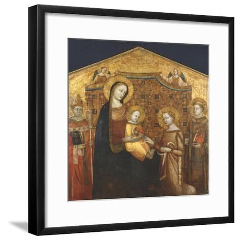 Mystical Marriage of St Catherine of Alexandria, with Saints Zenobio and Leonard- Master of the Christchurch Coronation-Framed Art Print
