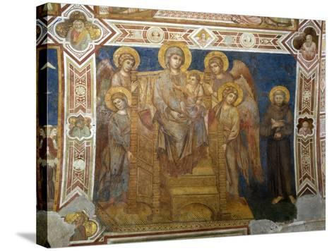 Madonna and Child Enthroned with Angels and St Francis of Assisi-Giovanni Cimabue-Stretched Canvas Print