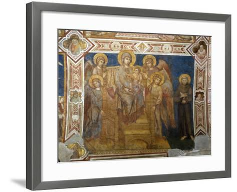 Madonna and Child Enthroned with Angels and St Francis of Assisi-Giovanni Cimabue-Framed Art Print