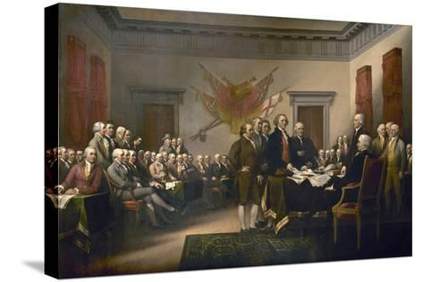 Signing the Declaration of Independence, July 4th, 1776-John Trumbull-Stretched Canvas Print