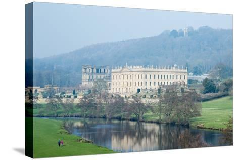 Chatsworth House from the Southwest over the River Derwent, Derbyshire--Stretched Canvas Print
