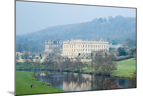 Chatsworth House from the Southwest over the River Derwent, Derbyshire--Mounted Photographic Print