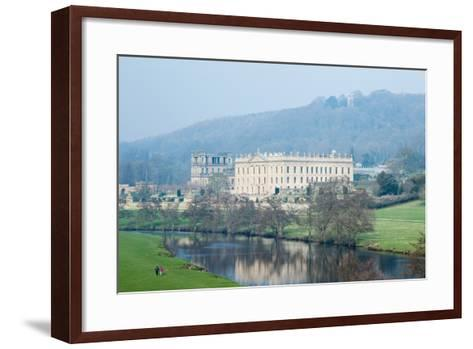 Chatsworth House from the Southwest over the River Derwent, Derbyshire--Framed Art Print