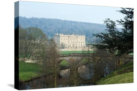 Chatsworth House from the West over the River Derwent, Derbyshire--Stretched Canvas Print