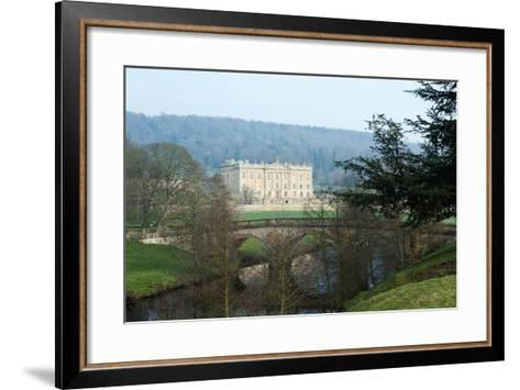Chatsworth House from the West over the River Derwent, Derbyshire--Framed Art Print