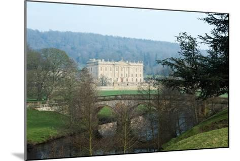 Chatsworth House from the West over the River Derwent, Derbyshire--Mounted Photographic Print