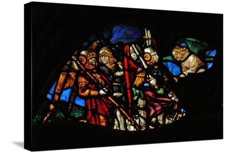 The West Rose Window Depicting a Scene from the Book of Revelation: Four Angels of the Euphrates…-French School-Stretched Canvas Print