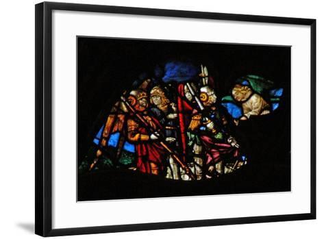 The West Rose Window Depicting a Scene from the Book of Revelation: Four Angels of the Euphrates…-French School-Framed Art Print