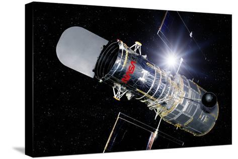 Hubble Space Telescope In Orbit, Artwork-Detlev Van Ravenswaay-Stretched Canvas Print