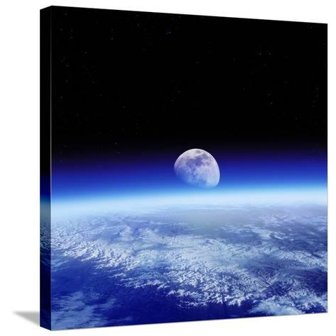 Moon Rising Over Earth's Horizon-Detlev Van Ravenswaay-Stretched Canvas Print