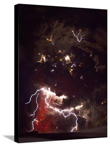 Volcanic Lightning, Iceland, April 2010-Olivier Vandeginste-Stretched Canvas Print