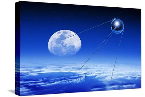 Sputnik 1 Satellite, Composite Image-Detlev Van Ravenswaay-Stretched Canvas Print
