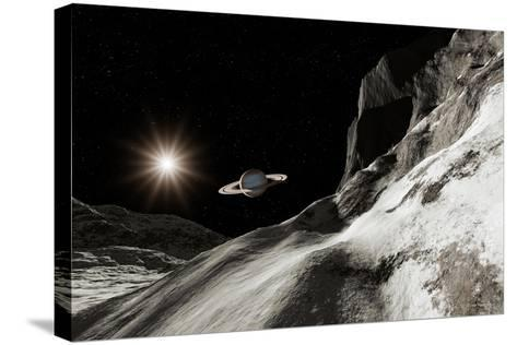 Saturn From Iapetus-Detlev Van Ravenswaay-Stretched Canvas Print