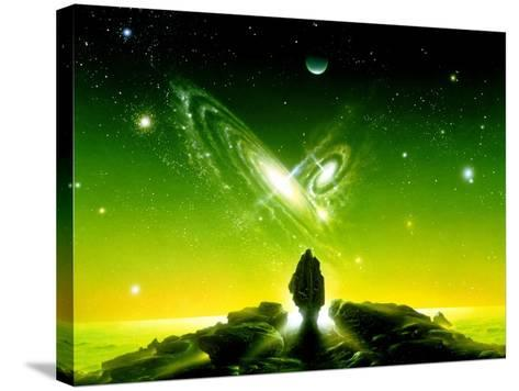 Colliding Galaxies Seen From An Alien Planet-Detlev Van Ravenswaay-Stretched Canvas Print