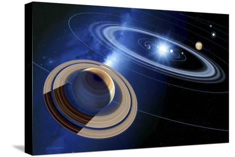 Saturn And Solar System-Detlev Van Ravenswaay-Stretched Canvas Print