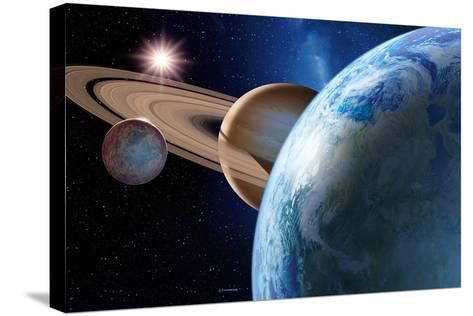 Earth-like Gas Giant Moon-Detlev Van Ravenswaay-Stretched Canvas Print