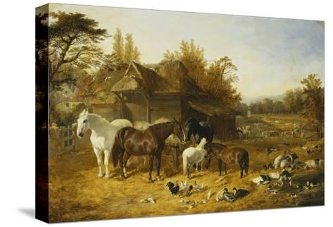 A Farmyard with Horses and Ponies, Berkshire-John Frederick Herring I-Stretched Canvas Print