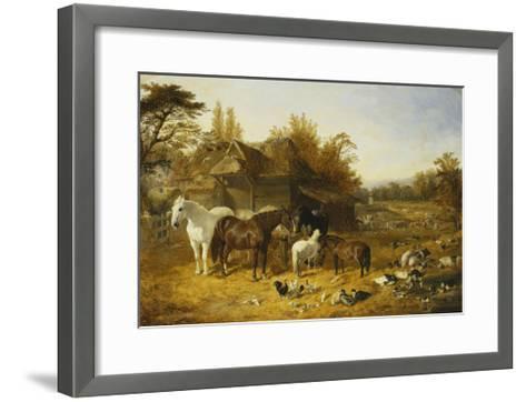 A Farmyard with Horses and Ponies, Berkshire-John Frederick Herring I-Framed Art Print