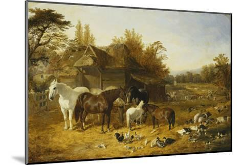 A Farmyard with Horses and Ponies, Berkshire-John Frederick Herring I-Mounted Giclee Print