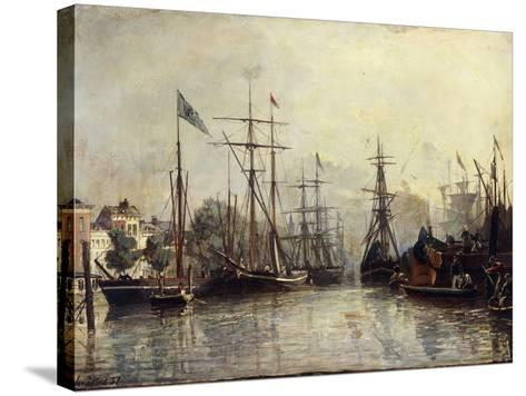 Rotterdam Harbour-Johan Barthold Jongkind-Stretched Canvas Print