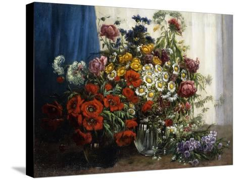 Poppies, Chrysanthemums, Peonies and other Wild Flowers in Glass Vases-Constantin Stoitzner-Stretched Canvas Print