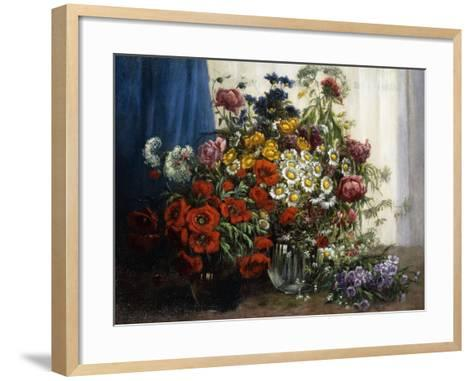 Poppies, Chrysanthemums, Peonies and other Wild Flowers in Glass Vases-Constantin Stoitzner-Framed Art Print