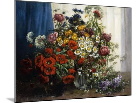 Poppies, Chrysanthemums, Peonies and other Wild Flowers in Glass Vases-Constantin Stoitzner-Mounted Giclee Print