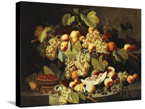 Bountiful Harvest-Severin Roesen-Stretched Canvas Print