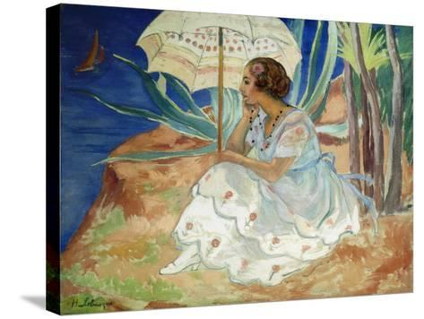 Young woman with an Umbrella, Saint Maxime-Henri		 Lebasque-Stretched Canvas Print
