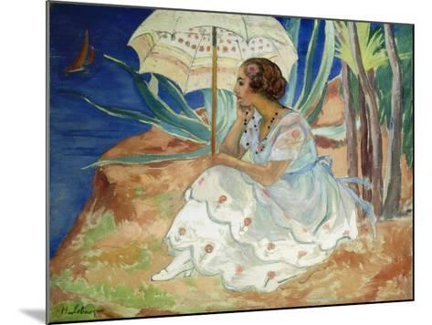 Young woman with an Umbrella, Saint Maxime-Henri		 Lebasque-Mounted Giclee Print