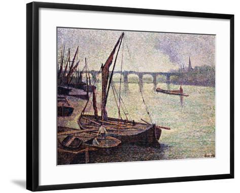 The Thames at Vauxhall Bridge-Maximilien Luce-Framed Art Print