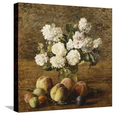 Still Life: Roses and Fruits-Henri Fantin-Latour-Stretched Canvas Print
