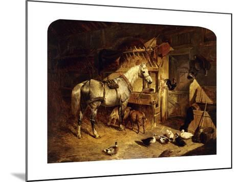The Interior of a Stable with a Dapple Grey Horse, Ducks, Goats, and a Cockerel by a Manger-John Frederick Herring I-Mounted Giclee Print