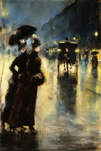 Nactbeleuchtung-Lesser Ury-Stretched Canvas Print
