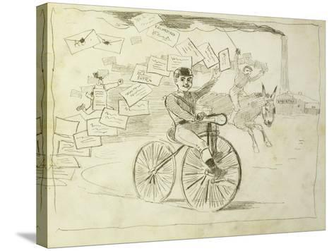 The Bicycle Messenger-Winslow Homer-Stretched Canvas Print