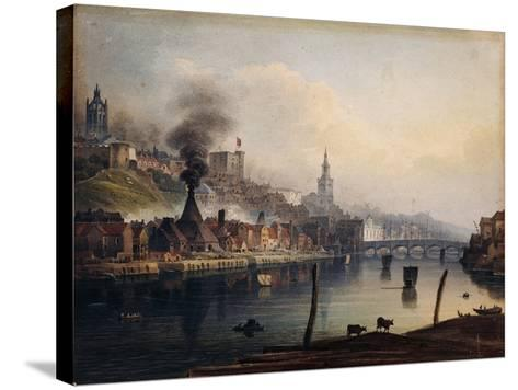 A View of Newcastle from the River Tyne-English School-Stretched Canvas Print