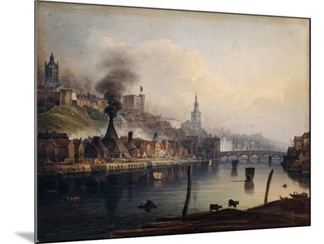 A View of Newcastle from the River Tyne-English School-Mounted Giclee Print
