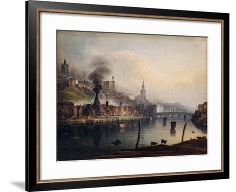 A View of Newcastle from the River Tyne-English School-Framed Art Print