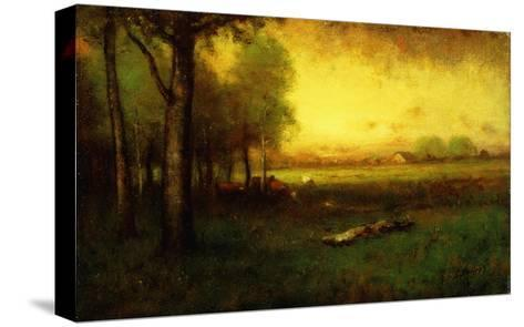 Cows Grazing at Sunset-Inness, Sr. George-Stretched Canvas Print