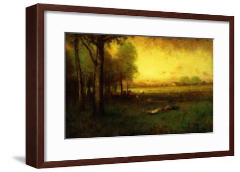 Cows Grazing at Sunset-Inness, Sr. George-Framed Art Print