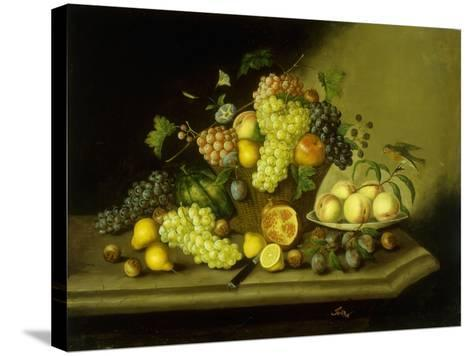 A Still Life with a Basket of Grapes and Mixed Fruit on a Stone Ledge-Johann Georg Seitz-Stretched Canvas Print