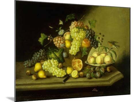 A Still Life with a Basket of Grapes and Mixed Fruit on a Stone Ledge-Johann Georg Seitz-Mounted Giclee Print