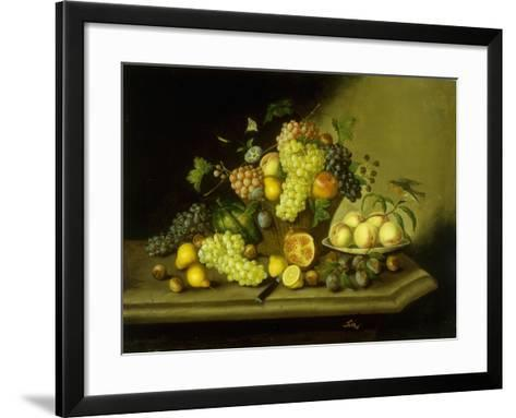 A Still Life with a Basket of Grapes and Mixed Fruit on a Stone Ledge-Johann Georg Seitz-Framed Art Print