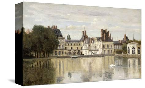 Fontainebleau - View of the Chateau and Lake-Jean-Baptiste-Camille Corot-Stretched Canvas Print