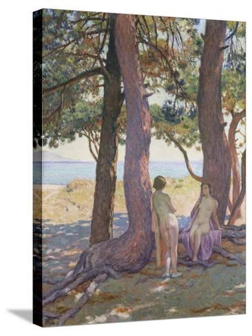 Two Nudes under Pine-Trees-Theo Rysselberghe-Stretched Canvas Print